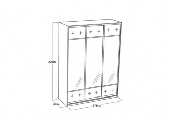 Шкаф-купе 3-х дверный Неро/Сезия без зеркал